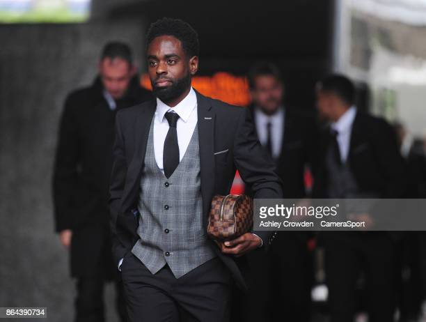 Swansea City's Nathan Dyer arrives at the liberty stadium during the Premier League match between Swansea City and Leicester City at Liberty Stadium...