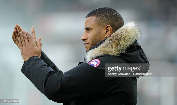Swansea City's new signing Luciano Narsingh is unveiled before the game during the Premier League match between Swansea City and Arsenal at Liberty...