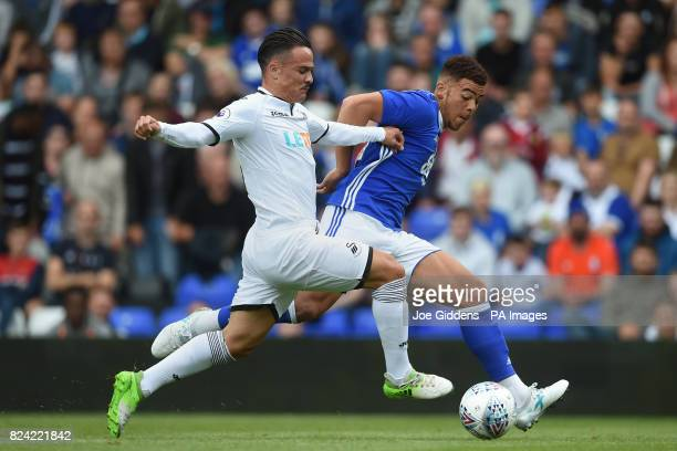 Swansea City's Roque Mesa and Birmingham City's Che Adams during the preseason match at St Andrews Birmingham
