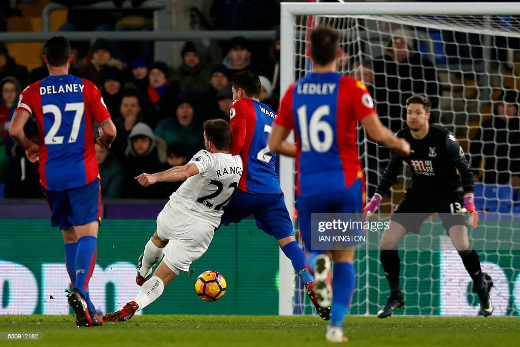 Swansea City's Spanish defender Angel Rangel (2nd L) shoots to score their second goal during the English Premier League football match between Crystal Palace and Swansea City at Selhurst Park in south London on January 3, 2017. Swansea won the game 2-1. / AFP / Ian KINGTON / RESTRICTED TO EDITORIAL USE. No use with unauthorized audio, video, data, fixture lists, club/league logos or 'live' services. Online in-match use limited to 75 images, no video emulation. No use in betting, games or single club/league/player publications. /