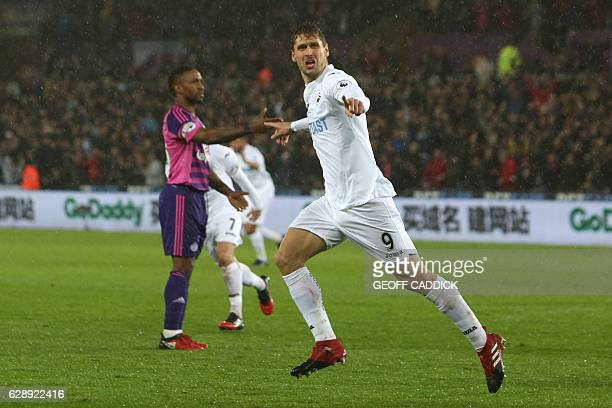 Swansea City's Spanish striker Fernando Llorente celebrates after scoring their second goal during the English Premier League football match between...
