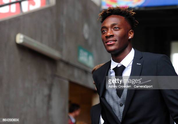 Swansea City's Tammy Abraham arrives at the liberty stadium during the Premier League match between Swansea City and Leicester City at Liberty...