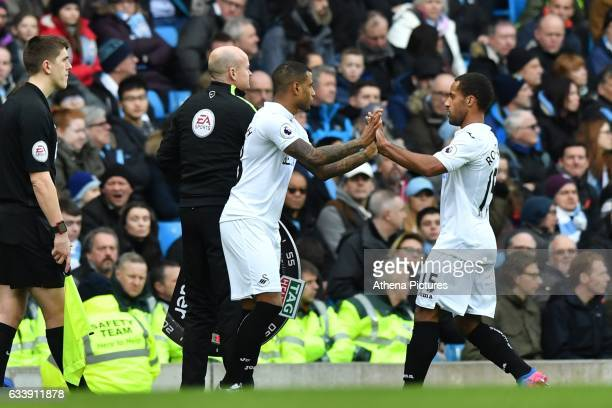 Swansea City's Wayne Routledge is replaces by Swansea City's Luciano Narsingh during the Premier League match between Manchester City and Swansea...