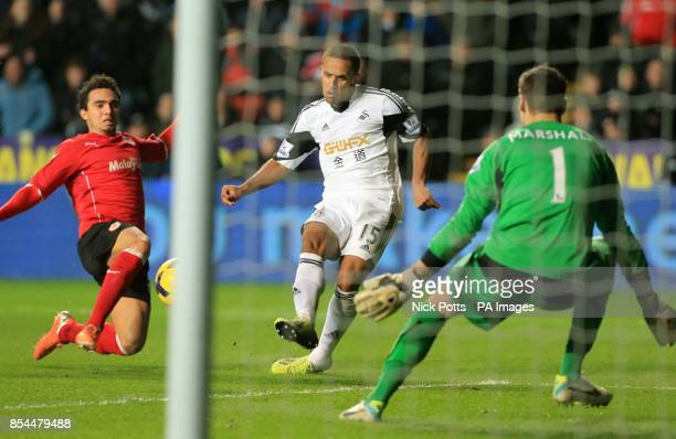 Swansea City's Wayne Routledge scores his team's opening goal