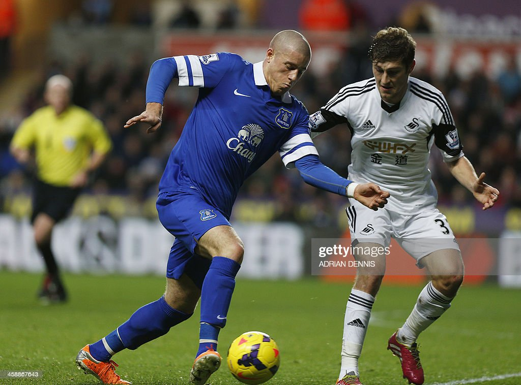 Swansea City's Welsh defender Ben Davies (R) challenges Everton's English midfielder Ross Barkley (L) during the English Premier League football match between Swansea City and Everton at Liberty Stadium in Swansea, south Wales, on December 22, 2013. USE. No use with unauthorized audio, video, data, fixture lists, club/league logos or live services. Online in-match use limited to 45 images, no video emulation. No use in betting, games or single club/league/player publications.