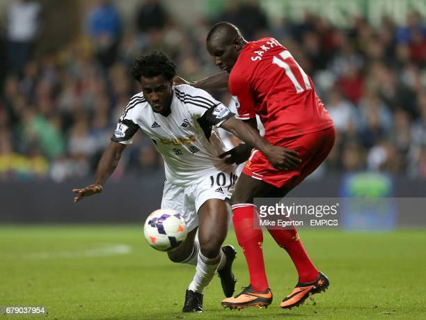 Swansea City's Wilfried Bony and Liverpool's Mamadou Sakho battle for the ball