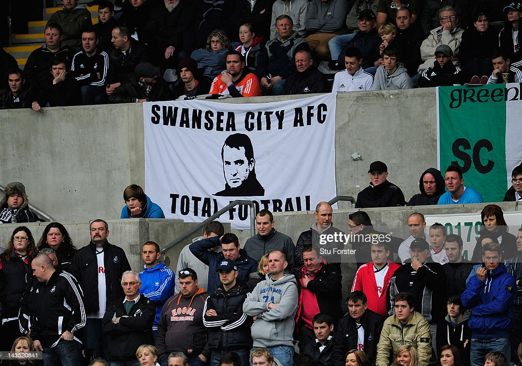Swansea fans show their appreciation for their manager <a gi-track='captionPersonalityLinkClicked' href=/galleries/search?phrase=Brendan+Rodgers+-+Soccer+Manager&family=editorial&specificpeople=5446684 ng-click='$event.stopPropagation()'>Brendan Rodgers</a> and the style of football played by the Swans during the Barclays Premier league match between Swansea City and Wolverhampton Wanderers at Liberty Stadium on April 28, 2012 in Swansea, Wales.