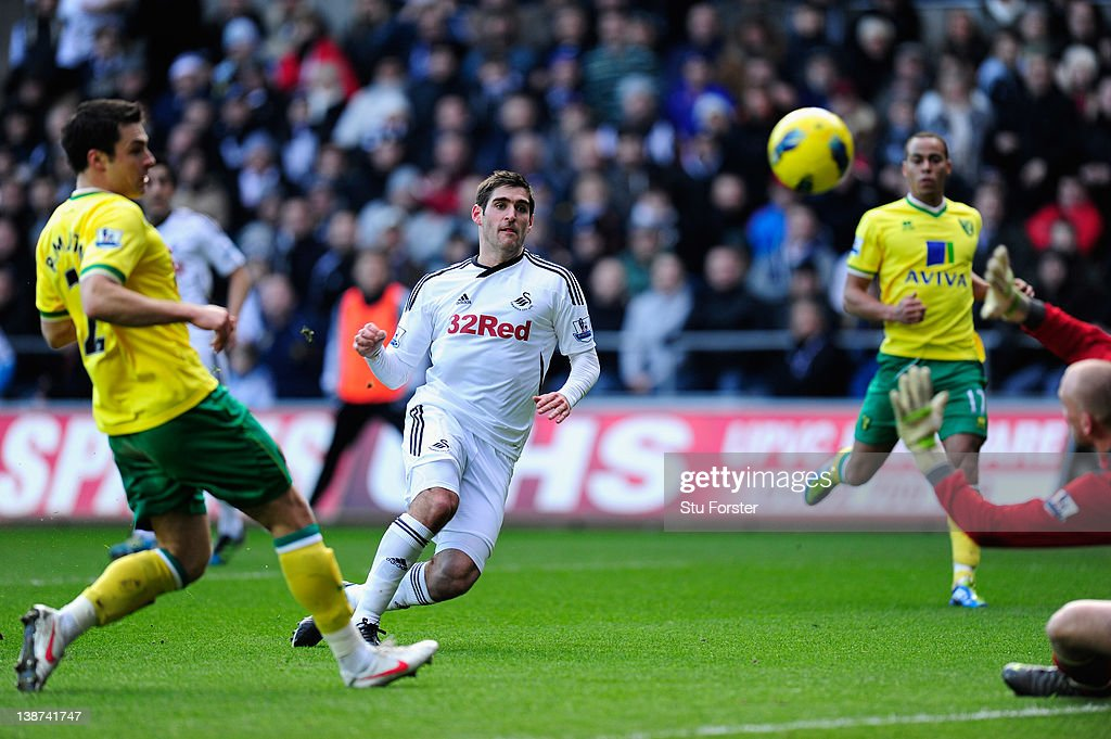Swansea forward Danny Graham scores the opening goal during the Barclays Premier League game between Swansea City and Norwich City at Liberty Stadium...