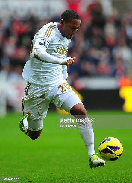 Swansea forward Jonathan de Guzman in action during the Barclays Premier League match between Swansea City and Liverpool at Liberty Stadium on...