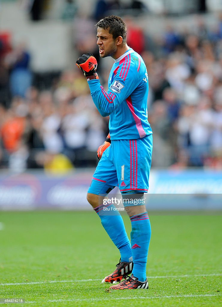 Swansea goalkeeper Lukasz Fabianski celebrates at the end of the Barclays Premier League match between Swansea City and West Bromwich Albion at Liberty Stadium on August 30, 2014 in Swansea, Wales.