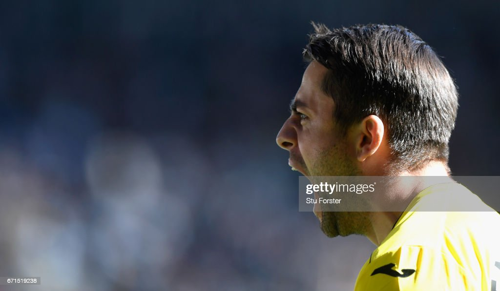 Swansea goalkeeper Lukasz Fabianski celebrates the second goal during the Premier League match between Swansea City and Stoke City at Liberty Stadium on April 22, 2017 in Swansea, Wales.