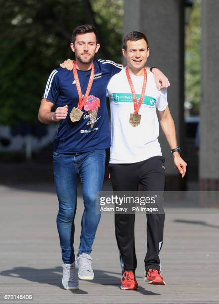Swansea Harriers' Matthew Rees and Chorlton Runners' David Wyeth during a photocall at The Tower Bridge Hotel London Wyeth was struggling to make it...