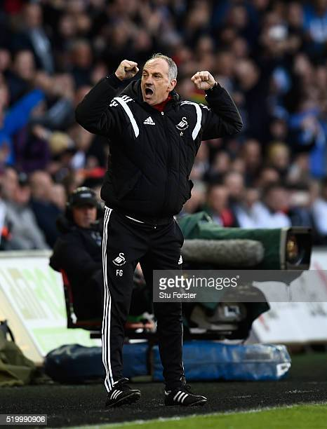 Swansea head coach Francesco Guidolin reacts on the final whistle after the Barclays Premier League match between Swansea City and Chelsea at Liberty...