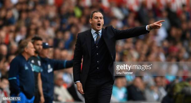 Swansea head coach Paul Clement reacts during the Premier League match between Swansea City and West Bromwich Albion at Liberty Stadium on May 21...
