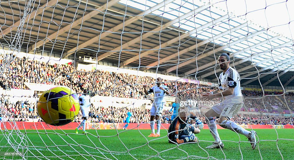 Swansea keeper Gerhard Tremmel turns to see Swansea defender Chico Flores turn a Kyle Walker cross into his own net for the second Spurs goal during the Barclays premier league match between Swansea City and Tottenham Hotspur at Liberty Stadium on January 19, 2014 in Swansea, Wales.
