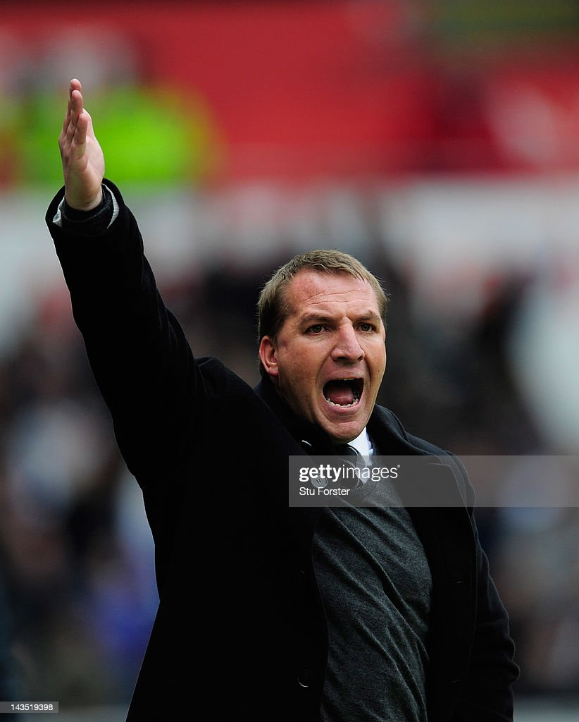 Swansea manager <a gi-track='captionPersonalityLinkClicked' href=/galleries/search?phrase=Brendan+Rodgers+-+Soccer+Manager&family=editorial&specificpeople=5446684 ng-click='$event.stopPropagation()'>Brendan Rodgers</a> reacts during the Barclays Premier league match between Swansea City and Wolverhampton Wanderers at Liberty Stadium on April 28, 2012 in Swansea, Wales.