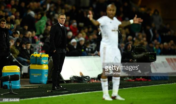 Swansea manager Garry Monk reacts during the Barclays Premier League match between Swansea City and AFC Bournemouth at Liberty Stadium on November 21...