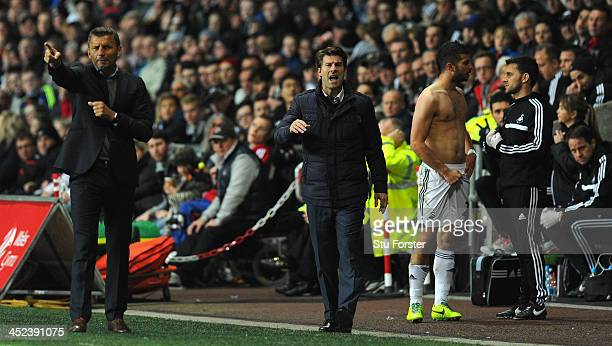 Swansea manager Michael Laudrup reacts during the UEFA Europa League group A match between Swansea City and Valencia CF at Liberty Stadium on...