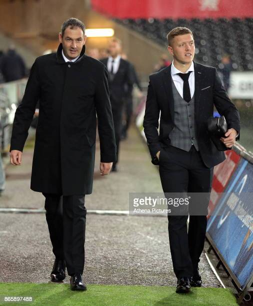 Swansea manager Paul Clement and Alfie Mawson of Swansea City arrive prior to the game during the Carabao Cup Fourth Round match between Swansea City...