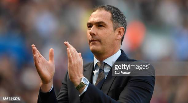 Swansea manager Paul Clement applauds the fans after the Premier League match between Swansea City and West Bromwich Albion at Liberty Stadium on May...