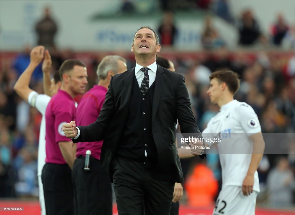 Swansea manager Paul Clement celebrates his team's win after the Premier League match between Swansea City and Everton at The Liberty Stadium on May 6, 2017 in Swansea, Wales.