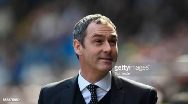 Swansea manager Paul Clement looks on before the Premier League match between Swansea City and Middlesbrough at Liberty Stadium on April 2 2017 in...