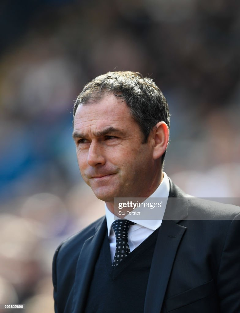 Swansea manager Paul Clement looks on before the Premier League match between Swansea City and Middlesbrough at Liberty Stadium on April 2, 2017 in Swansea, Wales.