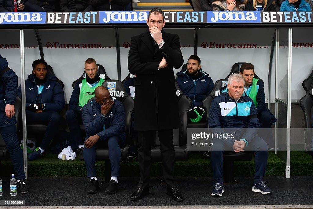 Swansea manager Paul Clement reacts during the Premier League match between Swansea City and Arsenal at Liberty Stadium on January 14, 2017 in Swansea, Wales.