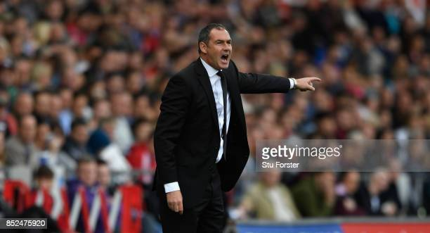 Swansea manager Paul Clement reacts during the Premier League match between Swansea City and Watford at Liberty Stadium on September 23 2017 in...