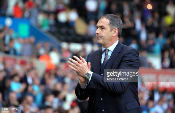 Swansea manager Paul Clement thanks home supporters after the Premier League match between Swansea City and West Bromwich Albion at The Liberty...