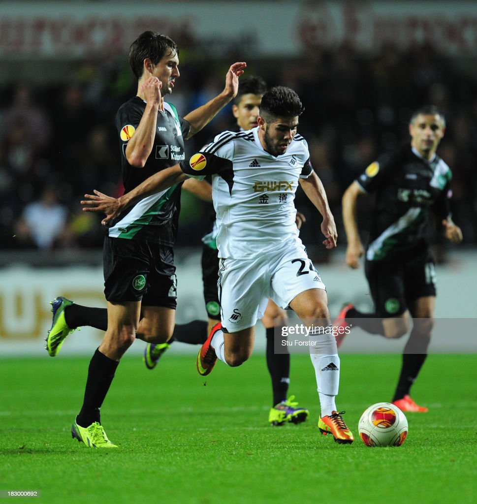 Swansea player Alejandro Pozuelo bursts through the St Gallen defence during the UEFA Europa League match between Swansea City and FC St Gallen at Liberty Stadium on October 3, 2013 in Swansea, Wales.