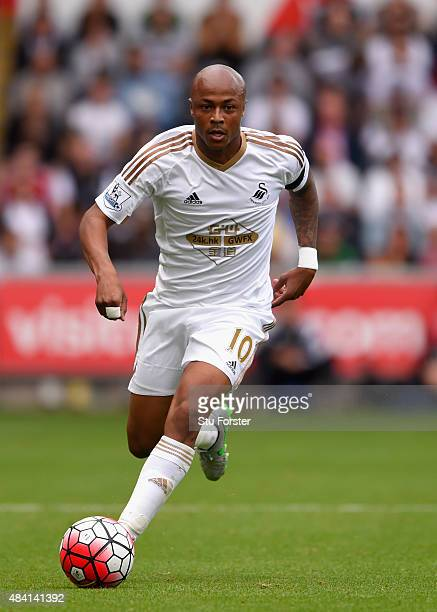 Swansea player Andre Ayew in action during the Barclays Premier League match between Swansea City and Newcastle United at the Liberty stadium on...