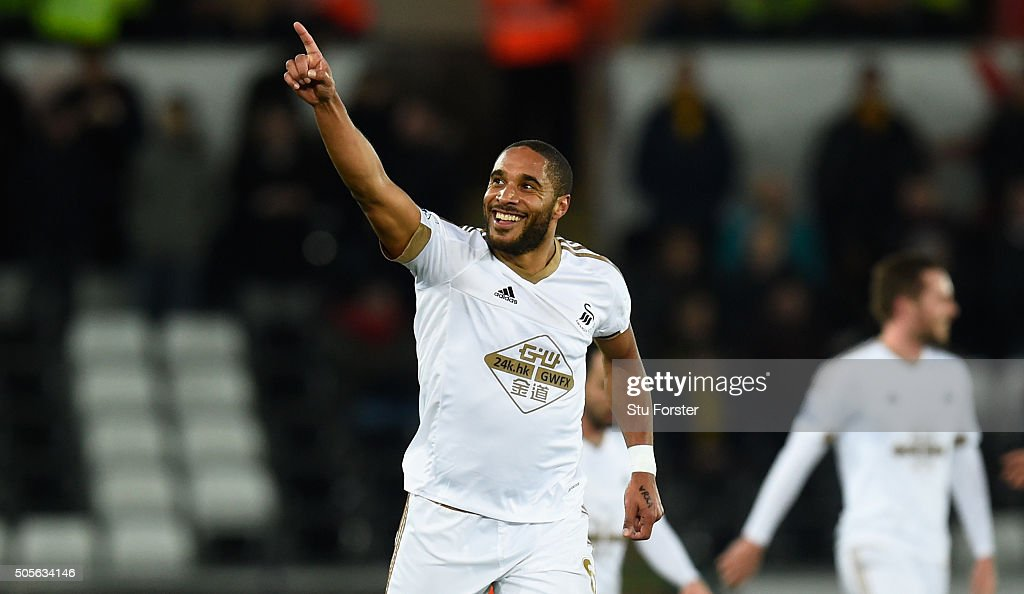 Swansea player <a gi-track='captionPersonalityLinkClicked' href=/galleries/search?phrase=Ashley+Williams+-+Soccer+Player&family=editorial&specificpeople=13495389 ng-click='$event.stopPropagation()'>Ashley Williams</a> celebrates his goal during the Barclays Premier League match between Swansea City and Watford at Liberty Stadium on January 18, 2016 in Swansea, Wales.