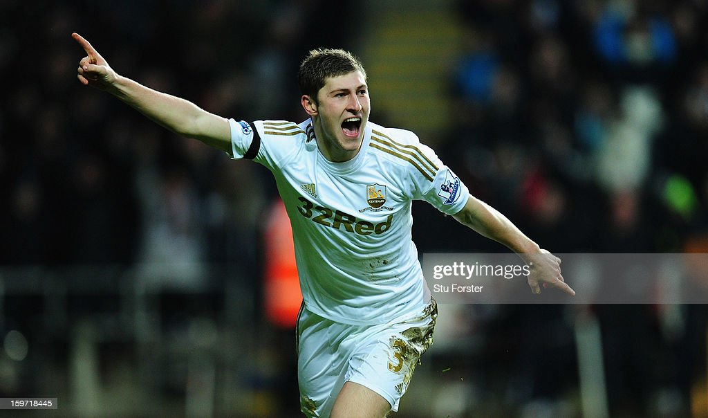 Swansea player Ben Davies celebrates the first goal during the Barclays Premier League match between Swansea City and Stoke City at Liberty Stadium on January 19, 2013 in Swansea, Wales.