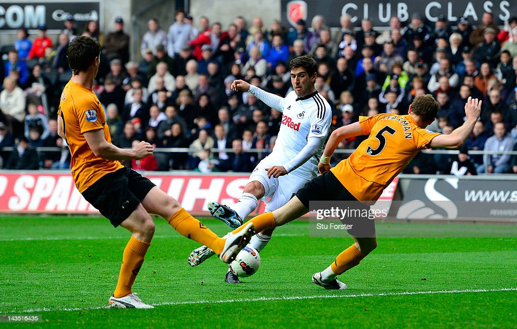 Swansea player Danny Graham scores the fourth Swansea goal during the Barclays Premier league match between Swansea City and Wolverhampton Wanderers at Liberty Stadium on April 28, 2012 in Swansea, Wales.