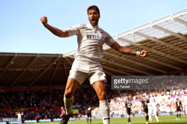 Swansea player Fernando Llorente celebrates his and the winning goal during the Premier League match between Swansea City and West Bromwich Albion at...