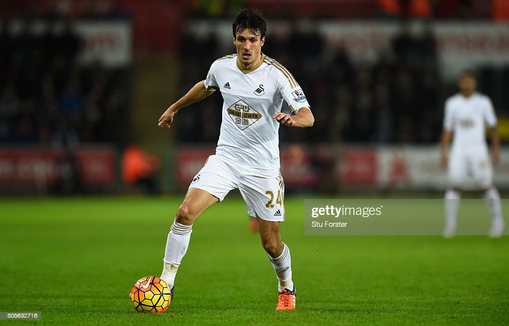 Swansea player <a gi-track='captionPersonalityLinkClicked' href=/galleries/search?phrase=Jack+Cork+-+Soccer+Player&family=editorial&specificpeople=4206991 ng-click='$event.stopPropagation()'>Jack Cork</a> in action during the Barclays Premier League match between Swansea City and Watford at Liberty Stadium on January 18, 2016 in Swansea, Wales.