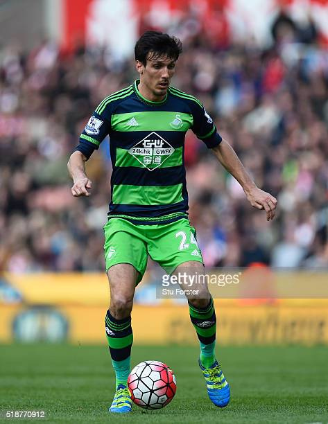 Swansea player Jack Cork in action during the Barclays Premier League match between Stoke City and Swansea City at Britannia Stadium on April 2 2016...