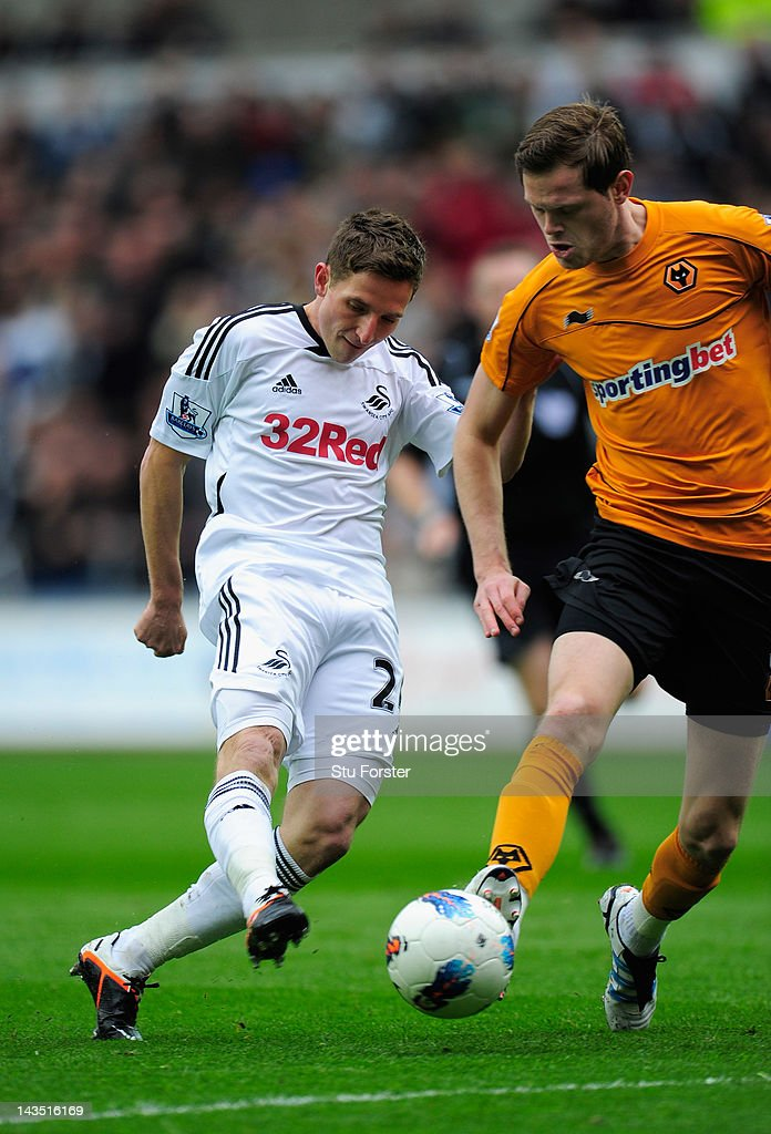 Swansea player Joe Allen scores the second goal during the Barclays Premier league match between Swansea City and Wolverhampton Wanderers at Liberty Stadium on April 28, 2012 in Swansea, Wales.