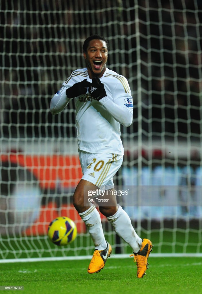 Swansea player <a gi-track='captionPersonalityLinkClicked' href=/galleries/search?phrase=Jonathan+de+Guzman&family=editorial&specificpeople=674543 ng-click='$event.stopPropagation()'>Jonathan de Guzman</a> celebrates after his second goal made it 3-0 during the Barclays Premier League match between Swansea City and Stoke City at Liberty Stadium on January 19, 2013 in Swansea, Wales.