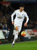 Swansea player Ki SungYueng in action during the Barclays Premier League match between Swansea City and Watford at Liberty Stadium on January 18 2016...