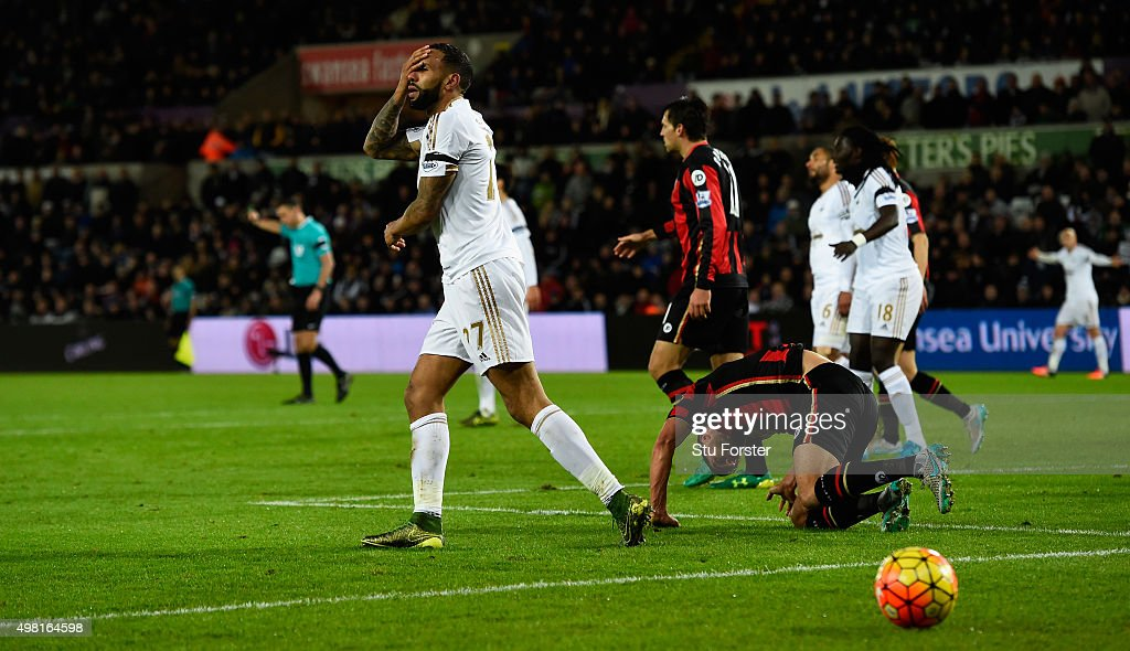 Swansea player Kyle Bartley reacts after missing a chance during the Barclays Premier League match between Swansea City and A.F.C. Bournemouth at Liberty Stadium on November 21, 2015 in Swansea, Wales.