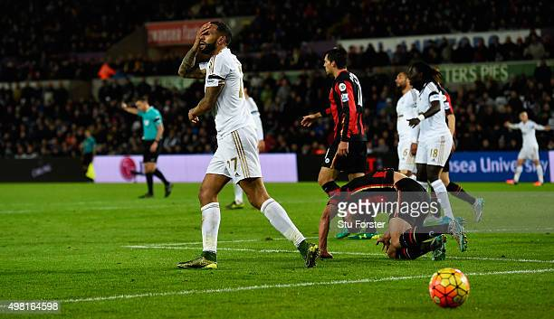 Swansea player Kyle Bartley reacts after missing a chance during the Barclays Premier League match between Swansea City and AFC Bournemouth at...