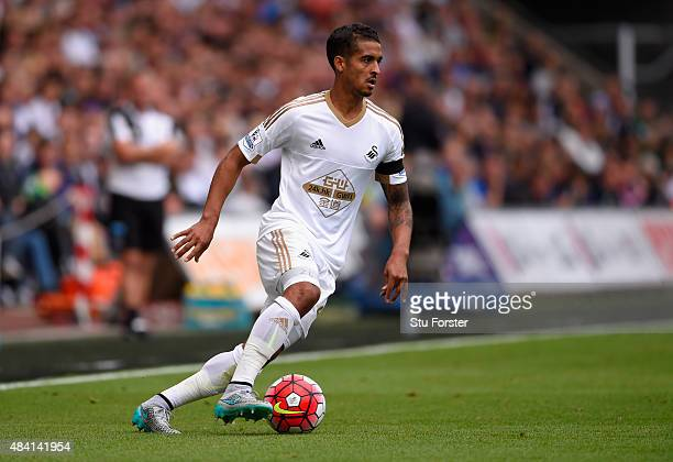 Swansea player Kyle Naughton in action during the Barclays Premier League match between Swansea City and Newcastle United at the Liberty stadium on...