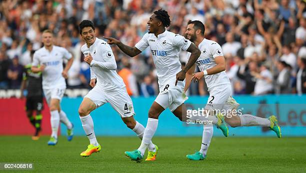 Swansea player Leroy Fer celebrates the second Swansea goal during the Premier League match between Swansea City and Chelsea at Liberty Stadium on...
