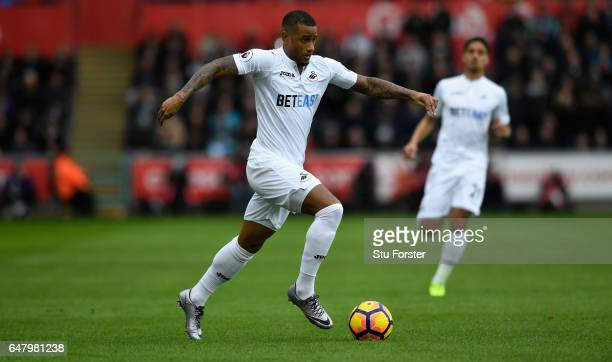 Swansea player Luciano Narsingh in action during the Premier League match between Swansea City and Burnley at Liberty Stadium on March 4 2017 in...