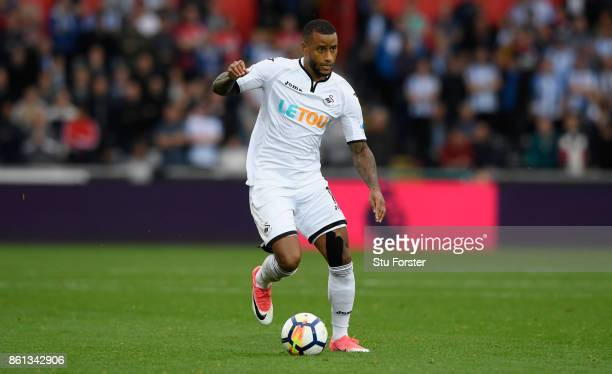 Swansea player Luciano Narsingh in action during the Premier League match between Swansea City and Huddersfield Town at Liberty Stadium on October 14...