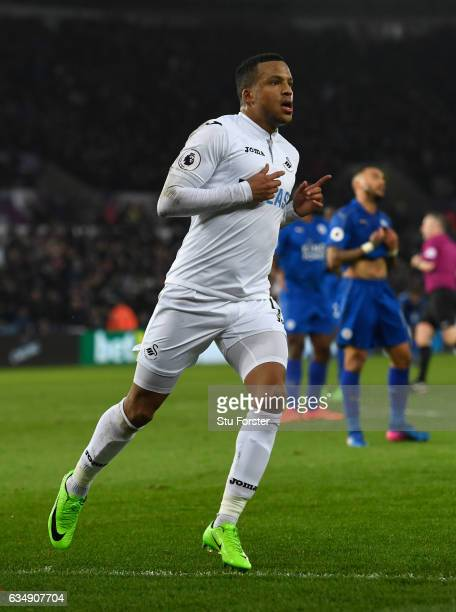 Swansea player Martin Olsson celebrates his goal during the Premier League match between Swansea City and Leicester City at Liberty Stadium on...