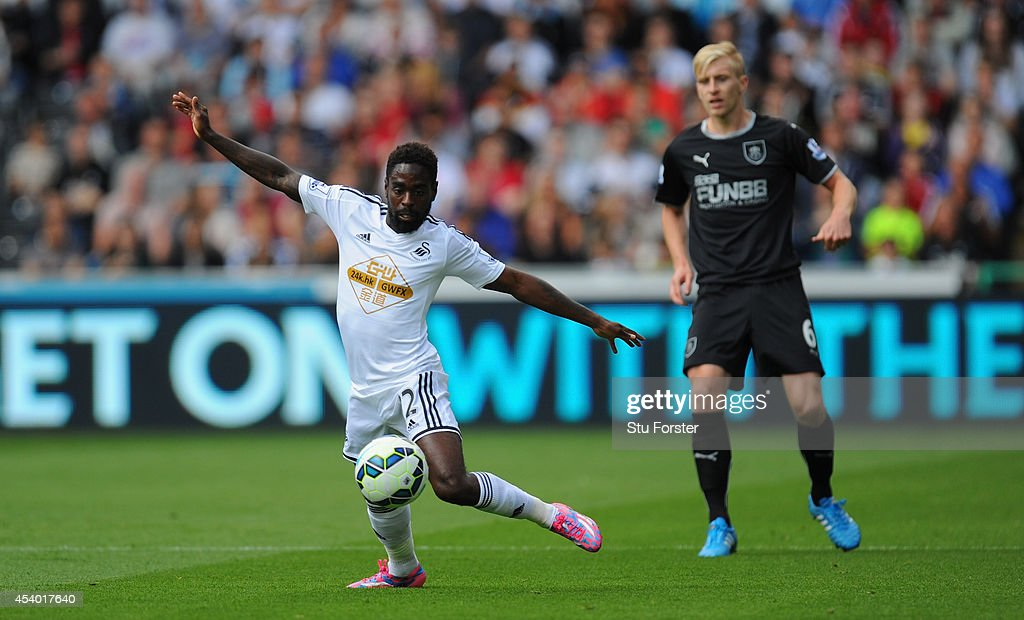 Swansea player <a gi-track='captionPersonalityLinkClicked' href=/galleries/search?phrase=Nathan+Dyer&family=editorial&specificpeople=684113 ng-click='$event.stopPropagation()'>Nathan Dyer</a> in action during the Barclays Premier League match between Swansea City and Burnley at Liberty Stadium on August 23, 2014 in Swansea, Wales.