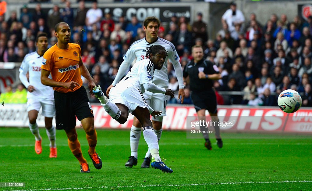 Swansea player Nathan Dyer scores the third goal during the Barclays Premier league match between Swansea City and Wolverhampton Wanderers at Liberty Stadium on April 28, 2012 in Swansea, Wales.